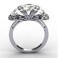 Tiffany Style Three CZ Stone 14K W Gold 38CT Diamond by artmasters