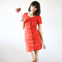 "Little red dress Mod dress Mini dress Office dress Color block 80""s (S/M)"