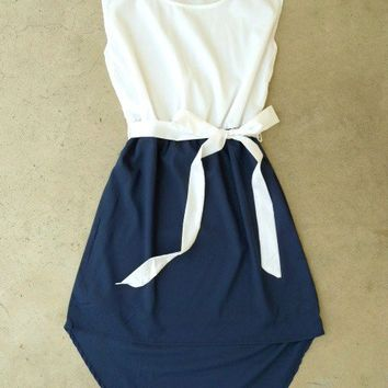 Navy La Sallee Colorblock Dress [2554] - $23.80 : Vintage Inspired Clothing & Affordable Fall Frocks, deloom | Modern. Vintage. Crafted.
