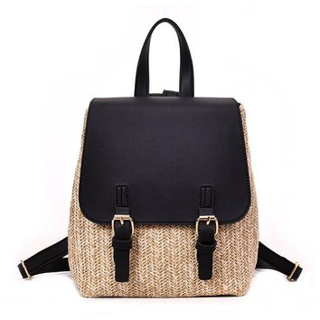 University College Backpack Simple Stitching Straw Knitting  2018 New Simplicity Patchwork  Wind School Bag Leisure Travel  XA465HAT_63_4