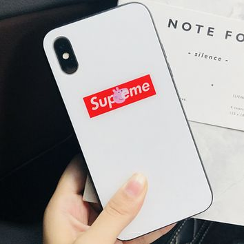 Supreme & Peppa Pig co-branded iphonex glass shell couple phone case F0602-1 white