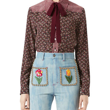 Gucci Autumn Flower Printed Silk Shirt, Maroon and Matching Items