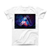 The Trilateral Eternal Space ink-Fuzed Front Spot Graphic Unisex Soft-Fitted Tee Shirt