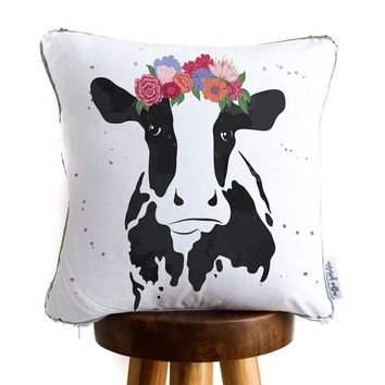 Cute Cow Decorative Pillow w/ Silver & White Reversible Sequins