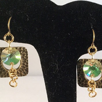 Square Earrings, Green crystal disk earrings, geometric earrings, geometric jewelry, green disk earrings, boho jewelry, gift for her