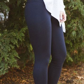 Lysse Cotton Tight Ankle Legging - Navy
