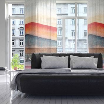 "Marco Gonzalez ""A 0 31"" Multicolor Pastel Abstract Geometric Painting Mixed Media Decorative Sheer Curtain"