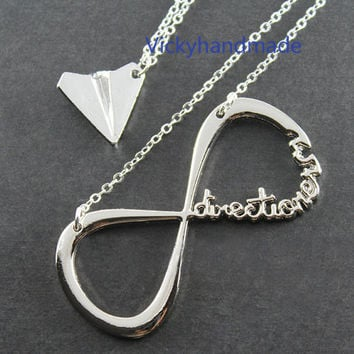 INFINITY One Direction,forever Directioner & Paper airplane necklace Harry Styles Charm