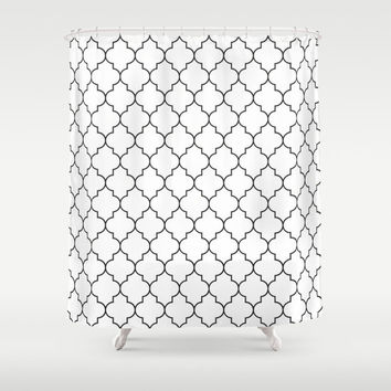 Shower Curtain - Black and White Quatrefoil Shower Curtain - Quatrefoil Shower Curtain - Black and White Shower Curtain - Black and White