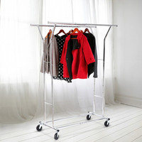 LANGRIA Double Rail Rolling Collapsible Adjustable Standing Drying Clothes Rack Garment Clothing Hanging Chrome-plated Rack
