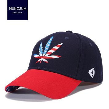 Trendy Winter Jacket 2018 New Fashion Embroidery Leaf Cap  Snapback Hats For Men Women Cotton Swag Hip Hop Fitted Baseball Caps AT_92_12
