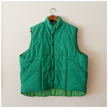 Mens 70s Vintage Green Snap Up Quilted Collared Carpenter Trucker Vest 2XLarge