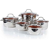 CONCORD 8 Piece Ceramic Coated -Copper- Cookware 2017 BESTSELLER (Induction Compatible)