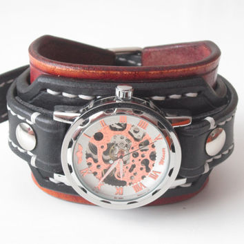 Mens steampunk leather watch, Black leather cuff watch, Bracelet watch, Handmade watch, Skeleton watch