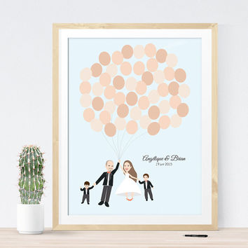 Wedding guest book alternative with family kids, family portrait custom wedding guestbook idea wedding gift