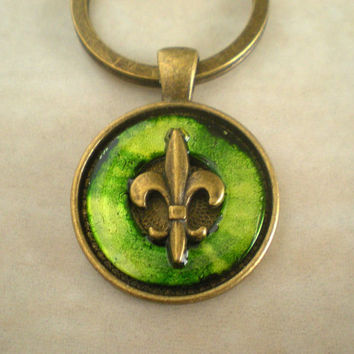 Fleur de lis Keychain: Green - Men's Keyring - Men's Keychain - Father's Day - Men's Gift - French Key Chain - New Orleans - Mardi gras
