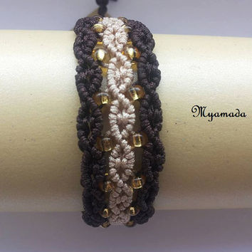 Beige and brown micro macrame bracelet / FREE SHIPPING