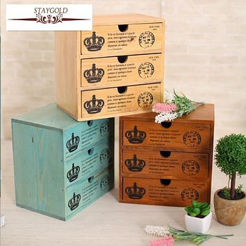 Staygold Zakka Multifunctional Mini Storage Cabinet Three Drawer Box Wood Craft Storage Box Small Parts Vintage Home Decor