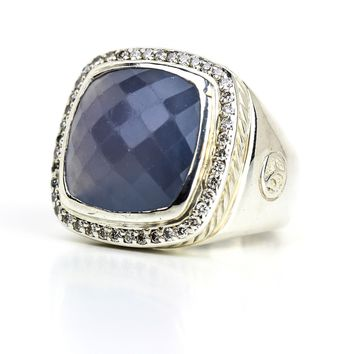 David Yurman Chalcedony Albion Ring with Diamonds in Sterling Silver, Size 6