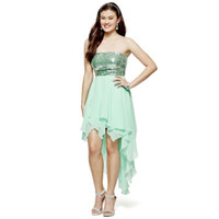 Bee Darlin Strapless Sequin-Bodice High-Low Dress