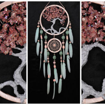 Light mint pink Dream Catcher Tree of life Dreamcatcher quartz Dream сatcher Light mint pink quartz  wall handmade gift Valentine's Day