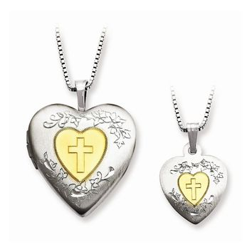Sterling Silver Gold-plated Heart Mom Locket & Daughter Pendant Set