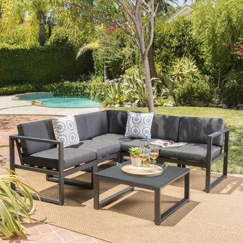 Nealie Outdoor Water Resistant Cushions 6 PC Sofa Set w/ Stone Finished Tempered Glass Coffee Table