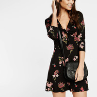 floral tie front fit and flare dress