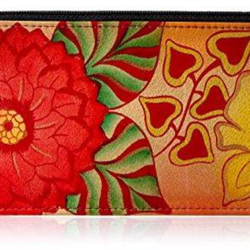 Anuschka Womens Hand Painted Leather Organizer Wallet
