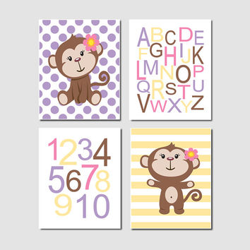 Monkey Nursery Decor, Girl Nursery Wall Art, Nursery Prints, Alphabet Letters, Numbers, Lavender Nursery, Set Of 4 Prints Or Canvas