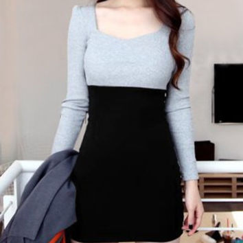 Black Long Sleeve Packet Buttock Mini Dress