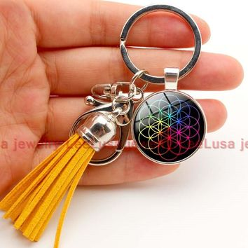 Coldplay world tour dates charm key chain tassel keychain gift for fans 6 styles