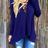 Blue Plunge Lace Up Front Long Sleeve Hooded T-shirt