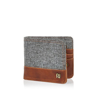 River Island MensGrey textured blocking foldover wallet