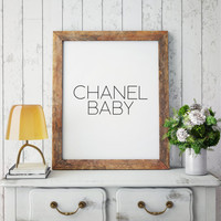Blush pink/Gold glitter party decor BABY SHOWER Party sign Digital Printable Chanel Coco centerpiece, table decor Party decor Black/White