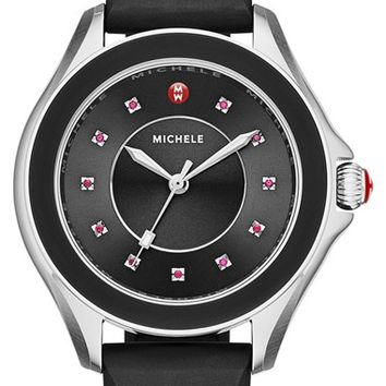 Women's MICHELE 'Cape' Topaz Dial Silicone Strap Watch, 40mm - Black/ Silver
