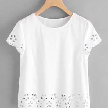 Scallop Edge Laser Cut Top WHITE