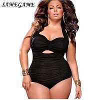 SAMEGAME Plus Size Swimwear Women Solid Swim Suit 2019 One Piece Swimsuit Large Size Vintage Retro Swimsuit Bathing Suits 4XL