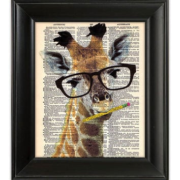 Brainy GIRAFFE Dictionary Art Print Funny ORIGINAL Mixed Media Digital Painting Illustration on Antique English Dictionary Book Page 8x10