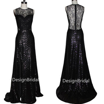 10% OFF Sexy Black Sequins Lace Long Evening Dress,High Slits Lace Cocktail Dress,On Sale Evening Gowns,Black Ball Party  Prom Lace Dress