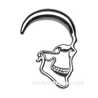 Pair of Skull Ray Steel Ear Gauge Hanging Taper Surgical Steel