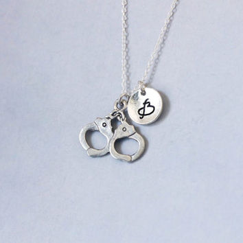 Nandcuffs Necklace. Police Cuffs Charm. Personalized Initial Necklace. Friendship Necklace.Sterling Silver necklace. No.213