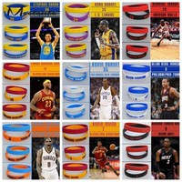Meetcute 2PCS Popular Silicone Wristband NBA Basketball Star Bracelet Rubber Hand Band