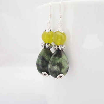 Jasper and Jade Earrings, Green Jasper and Yellow Jade Earrings, Tear Drops Gemstone Earrings, Earrings in Green
