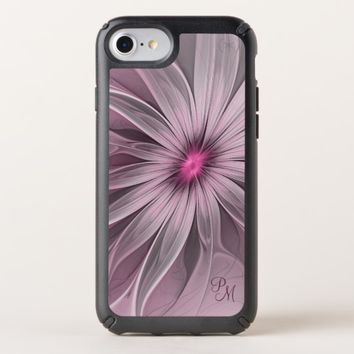 Pink Flower Waiting For A Bee Abstract Monogram Speck iPhone Case