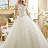 Mori Lee 2884 Cap Sleeve Beaded Drop Waist Ball Gown Wedding Dress – Off White by Bridal Expressions