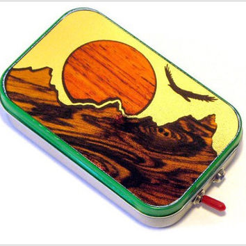 "Pocket Boombox Mint Tin Portable Speaker -""that mountain high"" Sunset Scene - Techie Gift for Him - Mini Speaker System - Boombox - Makbuilt"