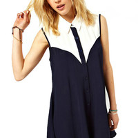 Panel Crew Sleeveless Knee Length Chiffon Dress