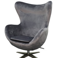 Max Fabric Swivel Rocker Chair Chrome Legs, Shadow Gray
