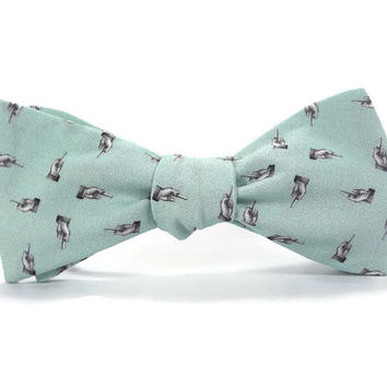 The Finger bowtie, Flipping the bird bowtie, novelty bowtie, naughty bowtie, F U bowtie, cussing bowtie, mint green grey